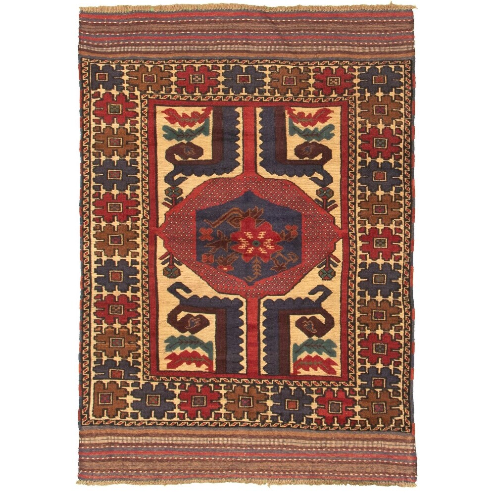 ECARPETGALLERY Hand-knotted Tajik Caucasian Light Khaki, Red Wool Rug - 4'2 x 6'0 (Light Khaki/ Red - 4'2 x 6'0)