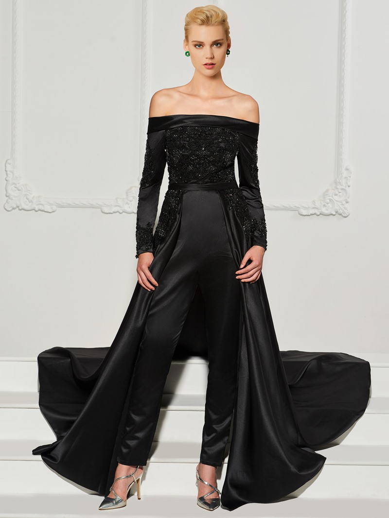 Ericdress Long Sleeve Beaded Evening Jumpsuits with Train