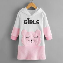 Toddler Girls Letter Graphic Embroidery Sweatshirt Dress