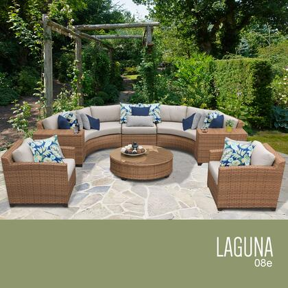 LAGUNA-08e-BEIGE Laguna 8 Piece Outdoor Wicker Patio Furniture Set 08e with 2 Covers: Wheat and