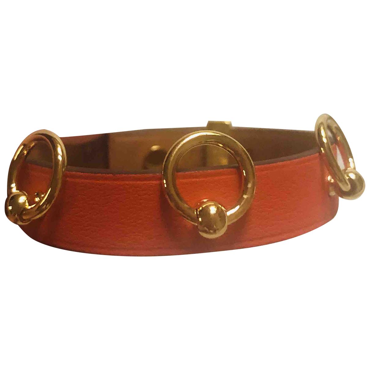 Hermes - Bracelet Mini Dog pour femme en cuir - orange