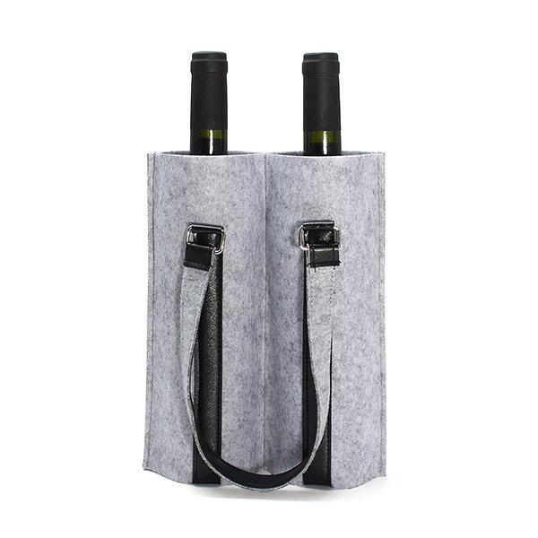 KCASA KC-BC02 Wool Felt Two Water Wine Bottle Carrier Bag Champagne Travel Tote Bag Holder Organizer