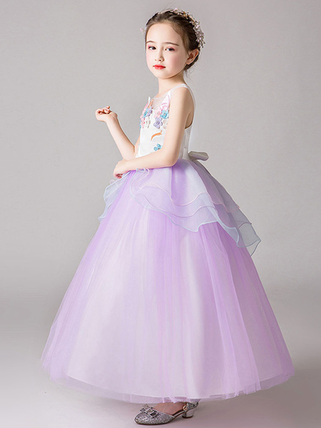 Milanoo Flower Girl Dresses Jewel Neck Sleeveless Flowers Kids Party Dresses