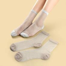 2pairs Plaid Pattern Mesh Socks