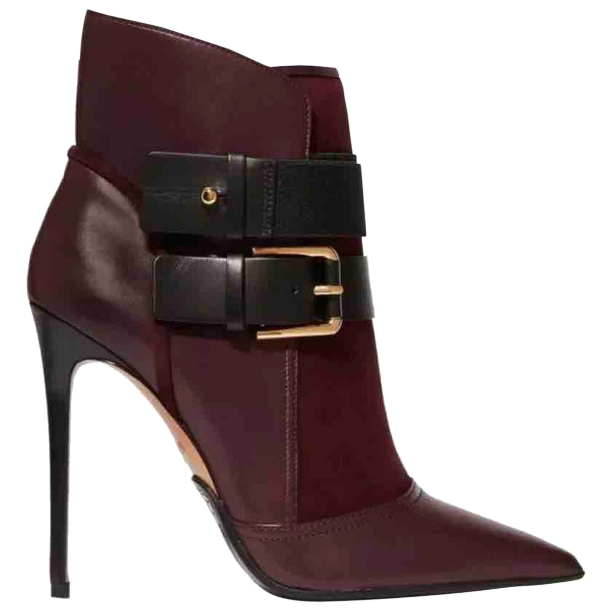 Balmain - Boots   pour femme en cuir - bordeaux