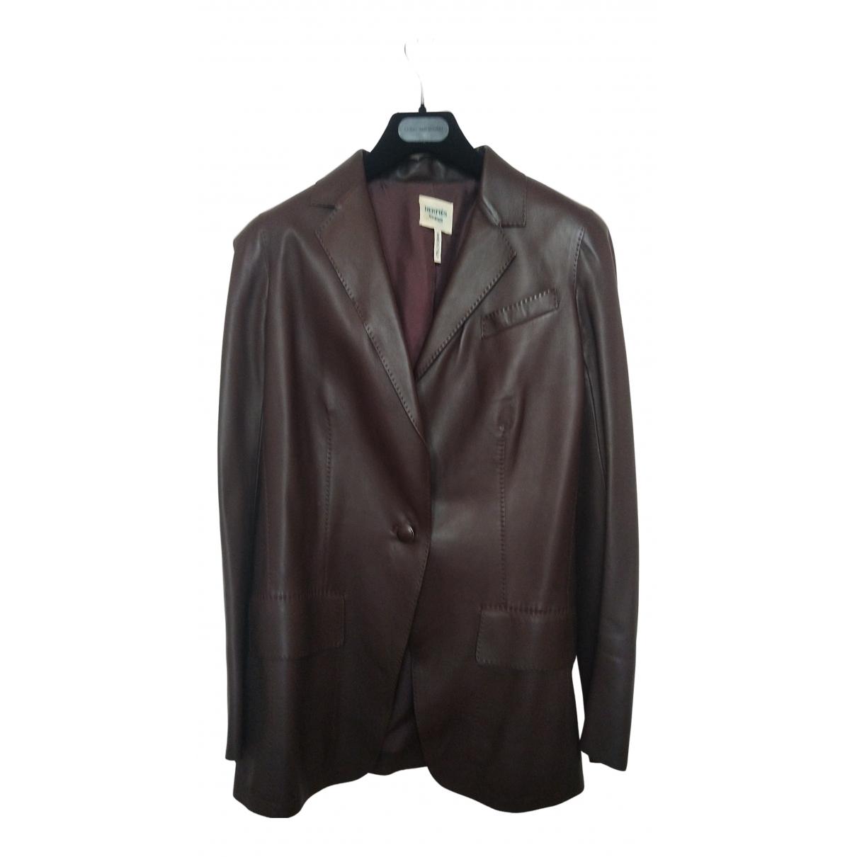 Hermès N Brown Leather jacket for Women 36 FR