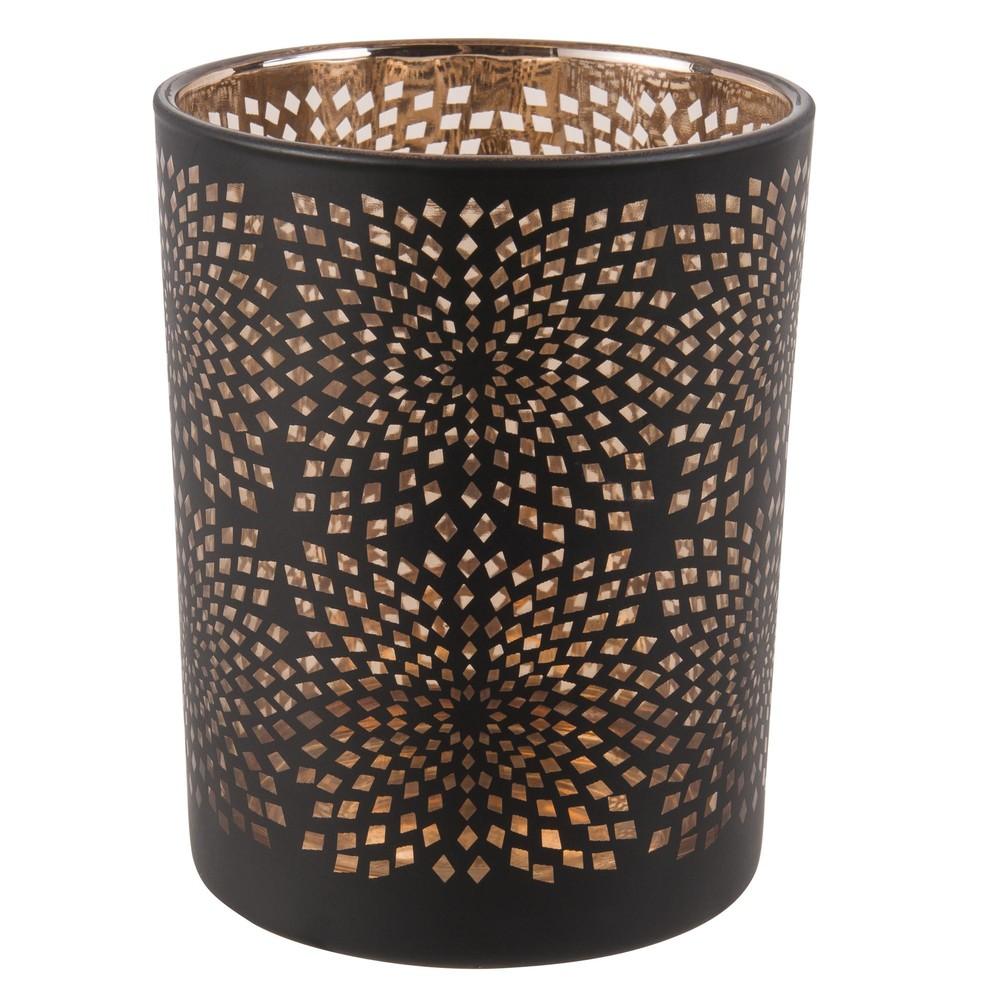 Laempchen aus schwarzem und kupferfarbenem Glas mit Lochmuster
