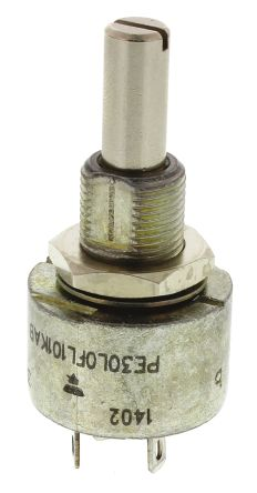 Vishay 1 Gang Rotary Cermet Potentiometer with an 6 mm Dia. Shaft - 1MΩ, ±10%, 0.09W Power Rating, Linear, Panel Mount