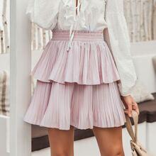 Shirred Waist Layered Pleated Skirt