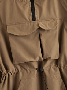 Letter Patched Drawstring Detail Jacket