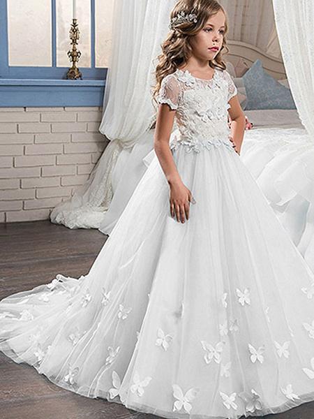 Milanoo Vestidos de niña de las flores Cuello de joya Mangas cortas de encaje Hasta el tobillo Vestido de fiesta Mariposa Vestidos formales para niños
