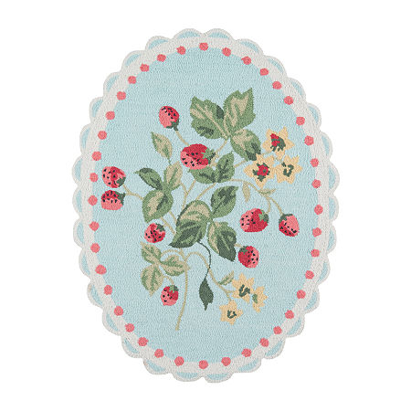 Madcap Cottage By Momeni Get Smart Cherry Berry Hooked Oval Indoor Rugs, One Size , Multiple Colors