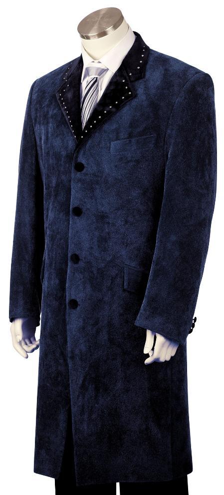 4 Button Navy Long Zoot Suit Mens