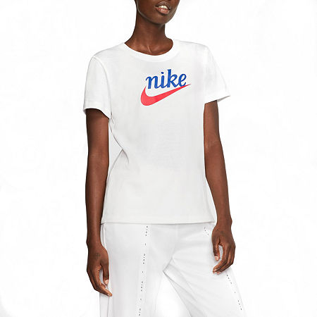 Nike Womens Crew Neck Short Sleeve Graphic T-Shirt, Large , White