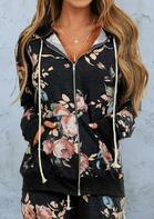 Floral Pocket Zipper Drawstring Hooded Coat - Dark Grey