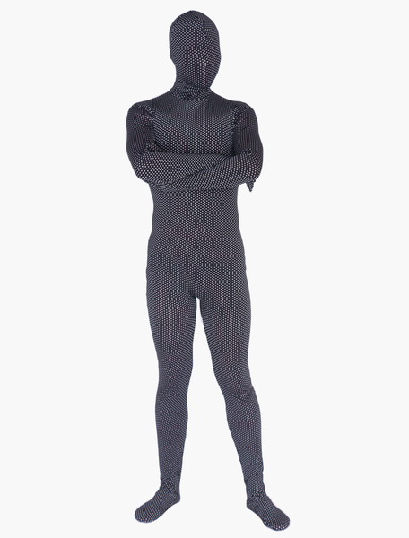 Milanoo Morph Suit Black Polka Dot Zentai Suit Full Body Lycra Spandex Bodysuit