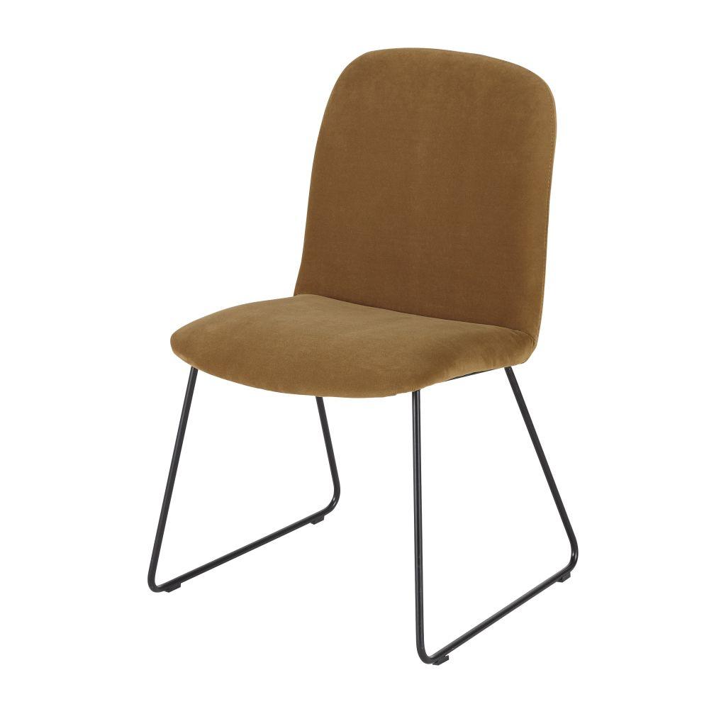 Stuhl aus schwarzem Metall mit senfgelbem Samtbezug Hella