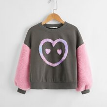 Girls Contrast Heart Faux Fur Shearling Sleeve Pullover