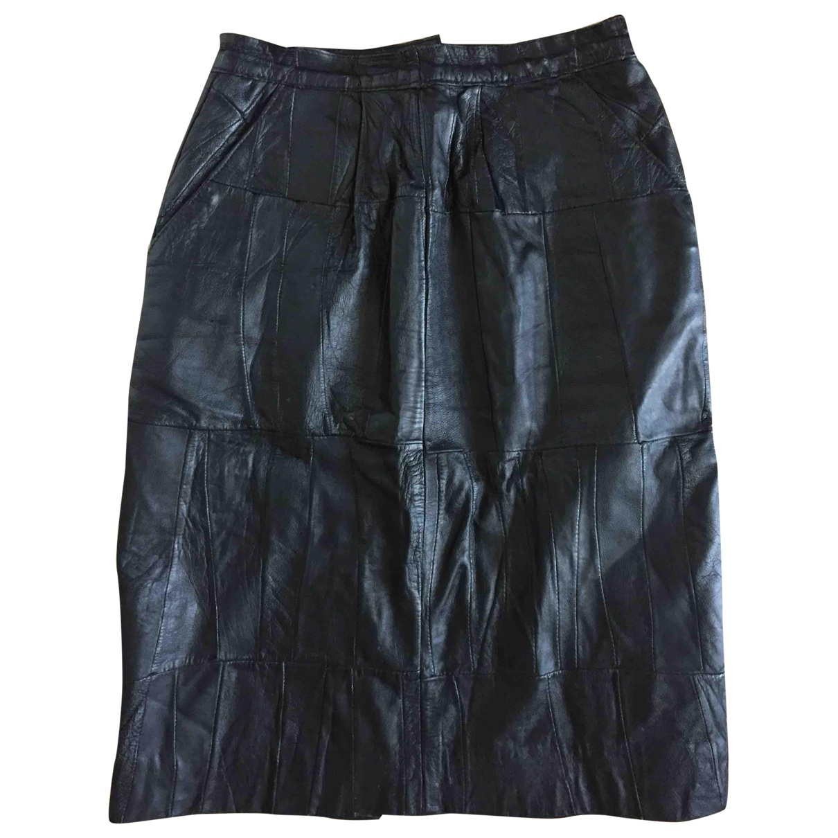 Non Signé / Unsigned \N Black Leather skirt for Women 38 FR