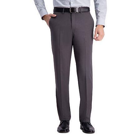 Haggar Premium Comfort Straight Fit Flat Front Dress Pant, 36 34, Gray