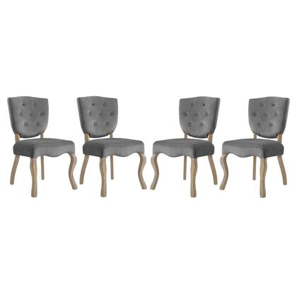 Array Collection EEI-3382-GRY Dining Side Chairs with Dense Foam Padding  Button Tufted Seat Back  Non-Marking Foot Caps  Weathered Wood Saber Legs