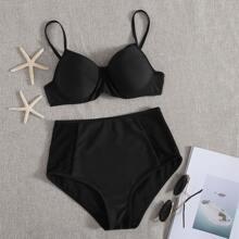 Bikini Badenzug mit Kontrast Netzstoff, Gurt und Buegel