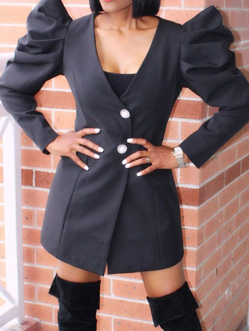 Ericdress V-Neck Long Sleeve Above Knee Princess Sleeve Bodycon Dress