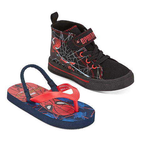 Marvel Spiderman Kids Sneakers and Flip Flops 2 For 1, 9 Medium, Red