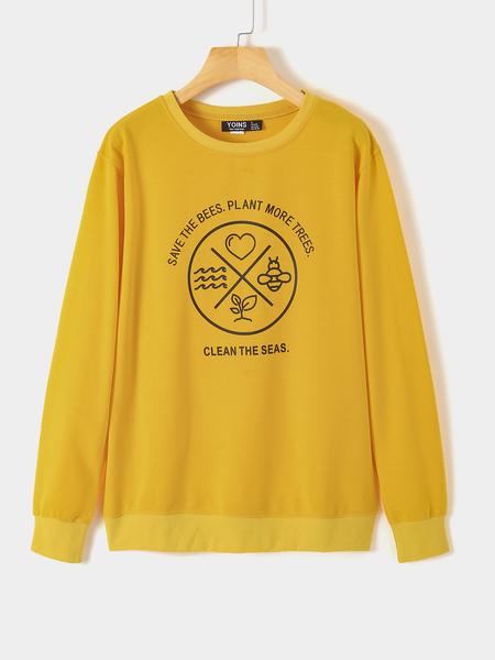 Yoins Graphic Long Sleeves Round Neck Sweatshirt