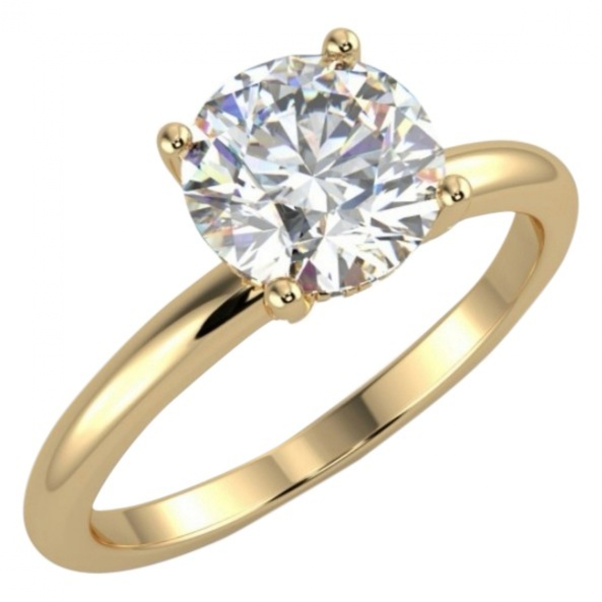 Non Signé / Unsigned Solitaire White Yellow gold ring for Women \N