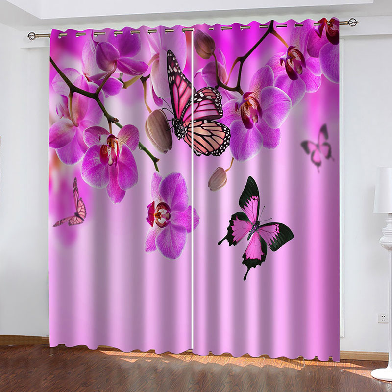 3D Blackout Window Curtains for Living Room Bedroom with Butterflies and Floral Pattern No Pilling No Fading No off-lining Blocks Out 80% of Light and