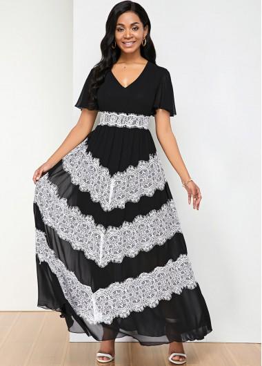 Cocktail Party Dress V Neck Lace Panel Color Block Maxi Dress - L
