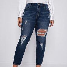 Plus Slant Pocket Ripped Skinny Jeans