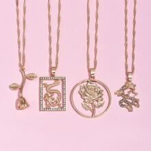 4pcs Rose Charm Necklace