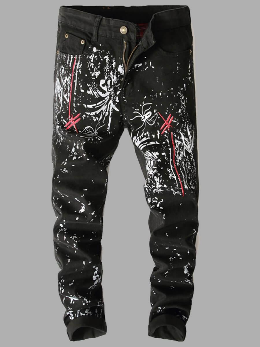 LW Lovely Trendy Print Black Men Jeans
