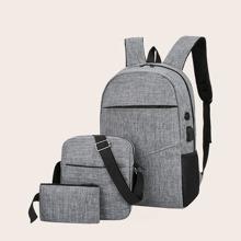 Maenner 3 Stuecke Rucksack Set mit Reissverschluss vorn