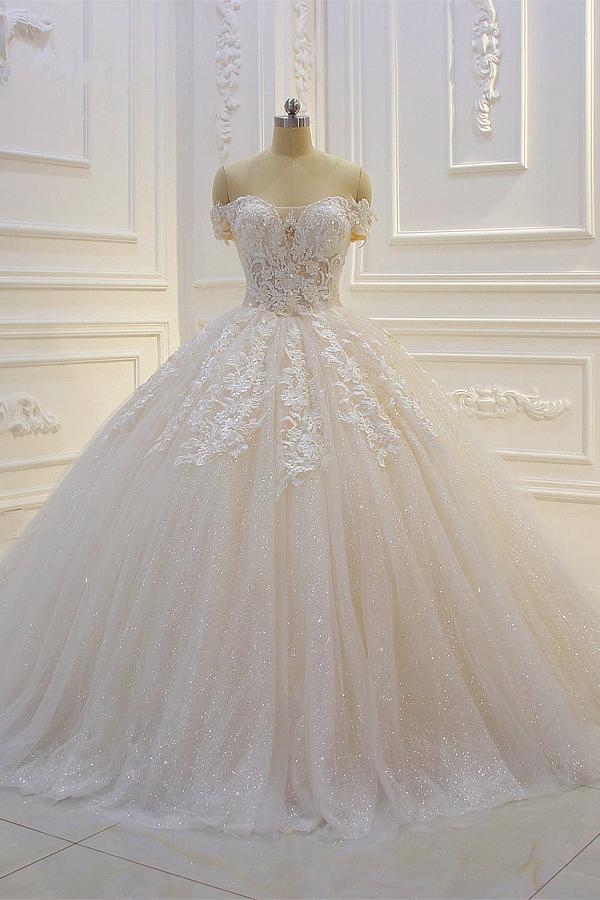 Vestido de novia con lentejuelas y apliques de encaje de tul con hombros descubiertos