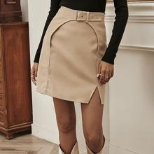 Split Hem Buckle Detail Straight Skirt