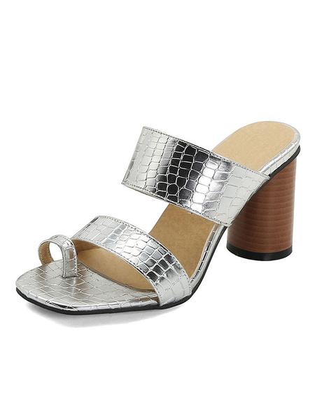 Milanoo High Heel Sandals Women Open Toe Loop Chunky Heel Slippers