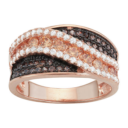 DiamonArt Womens Brown Cubic Zirconia 14K Rose Gold Over Silver Cocktail Ring, 7 , No Color Family