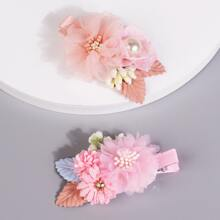 2pcs Toddler Girls Flower Decor Hair Clip