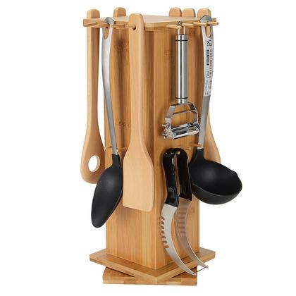 Organisateur de support rotatif pour ustensiles de cuisine en bambou avec trous - SortWise ™