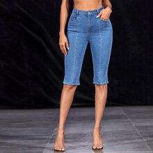 Split Hem Slant Pocket Denim Shorts