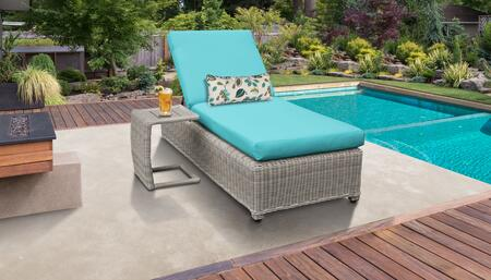 Coast Collection COAST-W-1x-ST-ARUBA Patio Set with 1 Chaise with Wheels  1 Side Table - Beige and Aruba