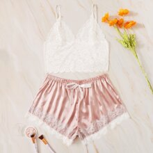 Plus Lace Cami Top With Satin Shorts