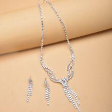 3 piezas set joya con fleco con diamante de imitacion
