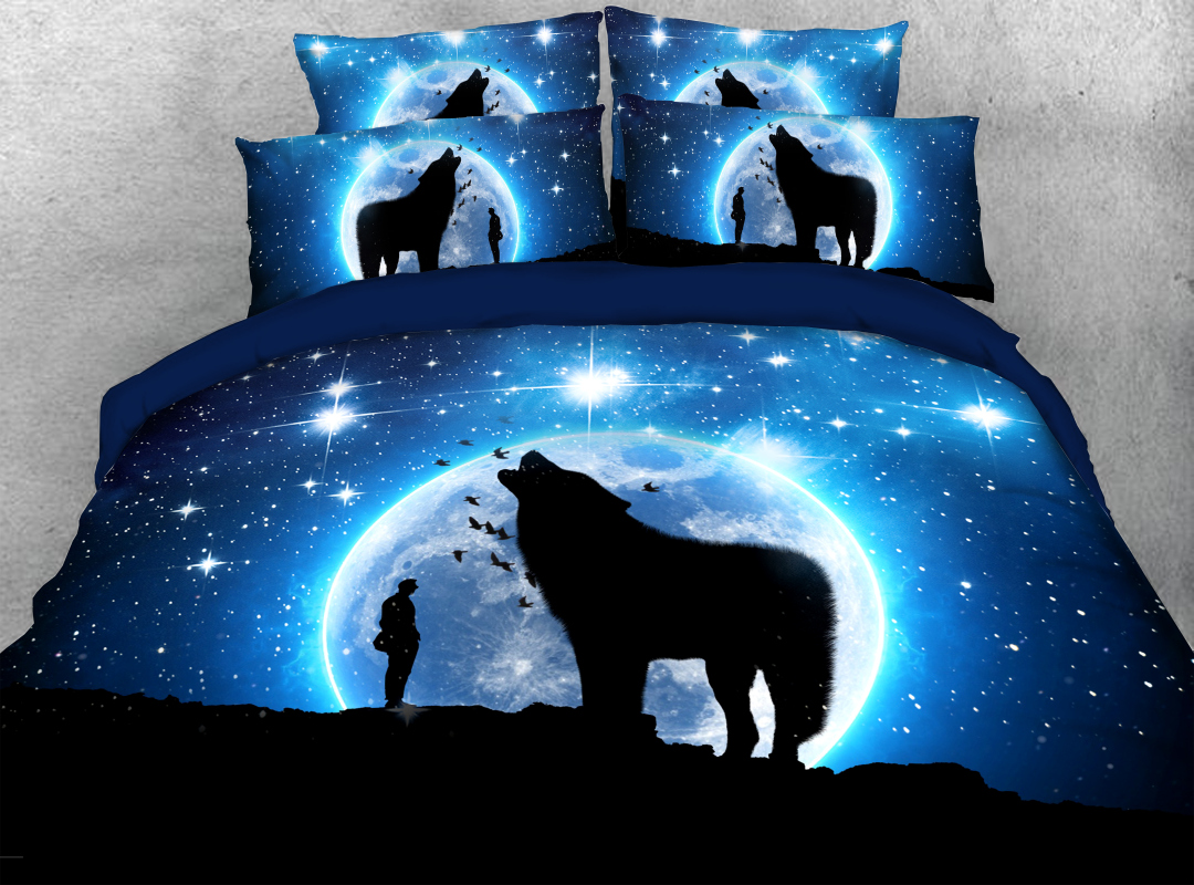 3D Wolf 4Pcs Animal Zipper Bedding Reactive Printing Machine Washable Soft Hard-wearing Colorfast Duvet Cover Set with Corner Ties