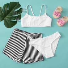 3 Stuecke Co-ord Bikini Badeanzug mit Streifen