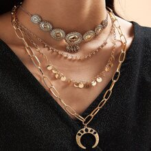 1pc Moon & Disc Charm Layered Chain Necklace