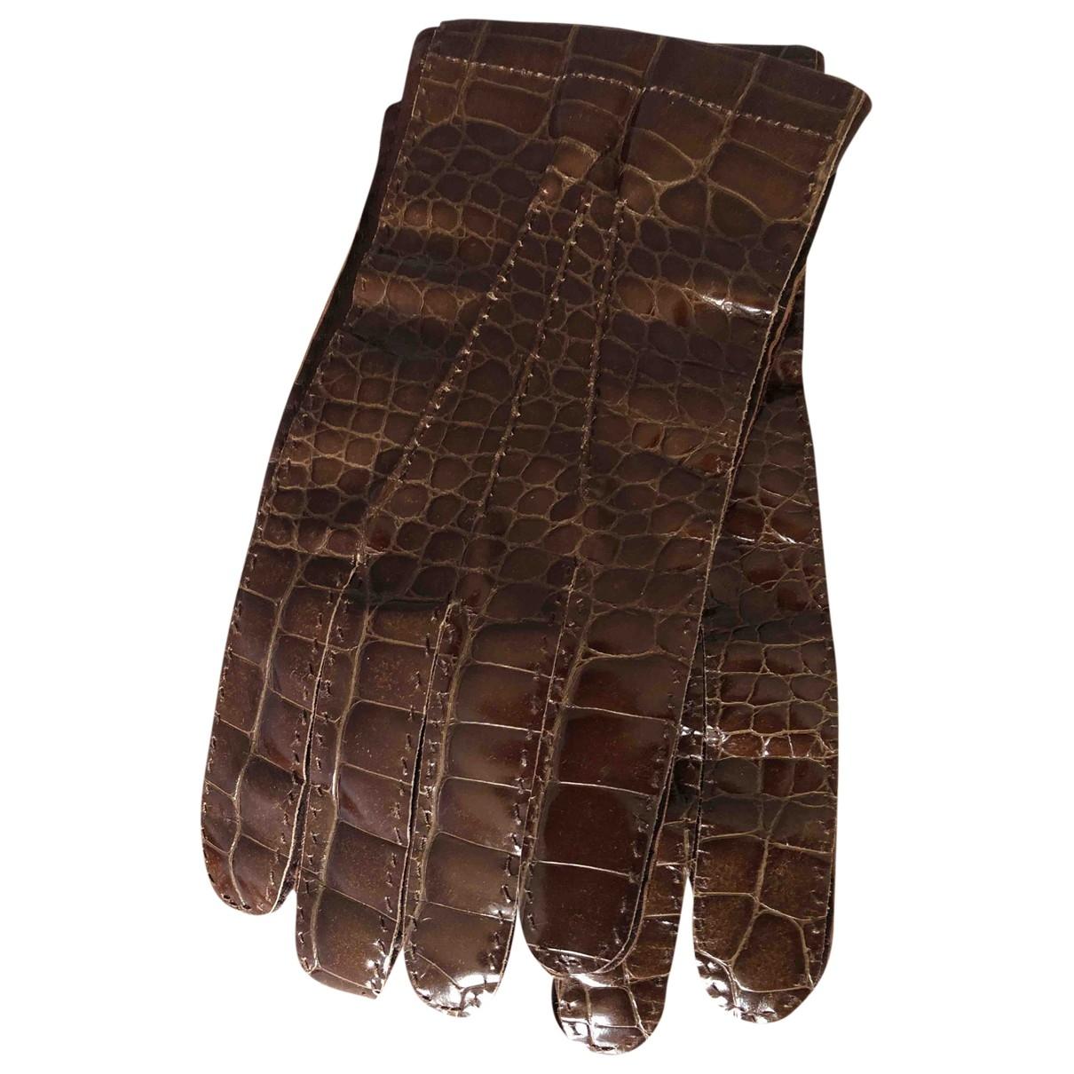Prada - Gants   pour femme en alligator - marron
